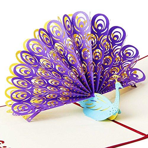 -Design zum Aufklappen von OSUNP, handgefertigte Geburtstagskarte, Hochzeitseinladung, Karte zum Jahrestag, für Freunde, für Glückwünsche und zum Valentinstag ()
