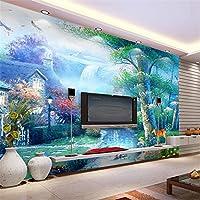 Lqwx 3D Tv & Agua De Montaña Como Telón De Fondo Wallpaper Salón Dormitorio Murales De Papel Tapiz Para Paredes 3 D-300cmX210cm