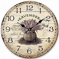 Idea Regalo - Eruner - Pittoresco orologio da parete in stile shabby-chic, in legno, effetto anticato screpolato per un tocco rustico, ideale in ufficio, cucina, camera da letto, bagno; 30cm, 35cm, 40cm, Lavender pattern 3, 35,5 cm (14