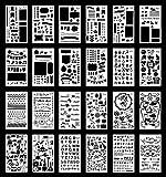 Plantillas para Bullet Journal | Plantillas de Plástico Reutilizables para Escribir, Agendas, Arte, Manualidades | 24 plantillas | Números, letras, formas, patrones |Stencil Set| 102 x178mm