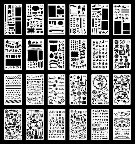 Bullet Journal Schablonen Set | Wiederverwendbare Plastikschablonen für Journaling, Malerei, Tagebuch, Kunst, Kunsthandwerk 24 Vorlagen | Zahlen, Buchstaben, Formen, Muster, Grenzen | 10.1x17.5cm