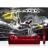 Fototapete 368x254 cm PREMIUM Wand Foto Tapete Wand Bild Papiertapete - Fußball Tapete Fussball Stadion Mann Spieler schwarz weiß - no. 1353