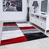 Wohnzimmer Teppich Modern Geometrisches Muster Meliert in Rot Grau Weiß Schwarz 120x170 cm