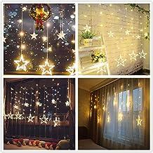 Cadena de luces LED de colores Salcar de 2*1 metros, cortina 12 estrellas de colores para navidad, decoracion de fiestas, celebraciones, 8 programas de cambio de luz (luz cálida)