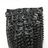 remeehi Afro Kinky Curly Clip in Echthaar Extensions 100 22 clips 120 g natur Farbe für schwarz Frauen