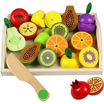 Taglio Frutta Verdura Bambini Legno Giocattoli di Taglio per Bambini ...