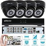 KKmoon Kits de Surveillance CCTV 8CH H.264 960H/D1 DVR avec Lot de 4 Caméras 800TVL IR-CUT Extérieur/ Intérieur Vision Nocturne Détection de Mouvement pour Android/ iOS P2P Vue à Distance
