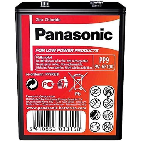Panasonic PP9 tarea pesada batería de 9V / cloruro de zinc / ideal para bajas dispositivos de drenaje radios, alarmas / 1 batería por paquete /