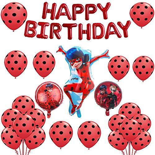 Allber Miraculous Ladybug Aluminiumfolie Luftballons Set Happy Birthday Party Dekoration Lieferungen für Marienkäfer Superheld Mädchen Kinder (24er Pack)