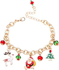 Leisial Catena della Perla di Fascino di Fascino del Braccialetto di Modo con il Pendente di Natale per i Monili del Partito delle Ragazze delle Donne