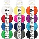 100% hilo algodón Mix en 12 colores - 600g set (12 x 50g) - Öko Tex 100 certificado - exclusive ovillos lana algodón para punto y ganchillo - by fairwool