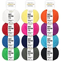 100% Baumwolle in 12 strahlenden Farben - 600g (12 x 50g) - Oeko-Tex Standard 100 zertifizierte Wolle zum Stricken & Häkeln - Baumwollgarn Set by Hansa-Farm