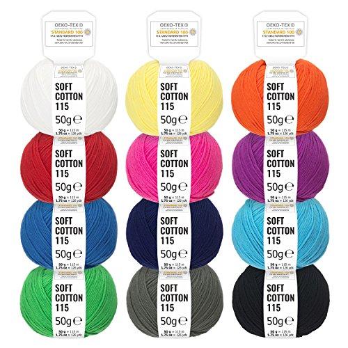 100% Baumwolle Bunter Mix - 600g Wolle (12 x 50g) - Oeko-Tex 100 zertifizierte Wolle zum Stricken Häkeln & Basteln - Baumwollgarn Set in 12 Farben by Hansa-Farm