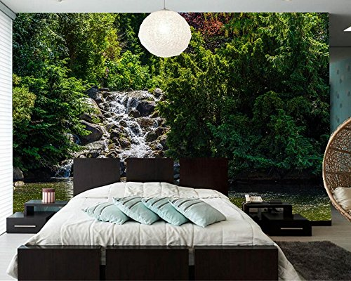 Yosot Park Teich Wasserfälle Steine Bäume Natur 3D Tapeten Restaurant Wohnzimmer Fernseher Sofa Wand Schlafzimmer Benutzerdefinierte Wandmalereien-140Cmx100Cm