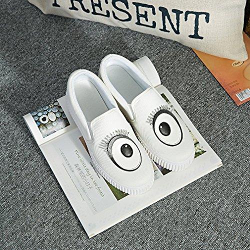 La Vogue Baskets Slip-On Basses Mode Ville Femme Fille Sneakers Chaussures Tendance Fantaisie Yeux Blanc