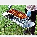 JF Gasgrills Barbecue Holzkohlegrill Edelstahl Klapp tragbare BBQ Tool Kits für Outdoor-Kochen Camping Wandern Picknicks Tailgating Backpacking oder Jede Outdoor-Veranstaltung