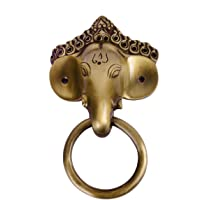 Collectible India Antique Brass Lord Ganesha Mask Ring Door Knocker (Golden)