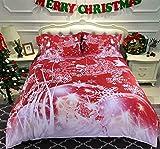 Beddingleer 4 pezzi 100% Cotone Natale Set di Biancheria da Letto 260*225cm Super King Size rosso