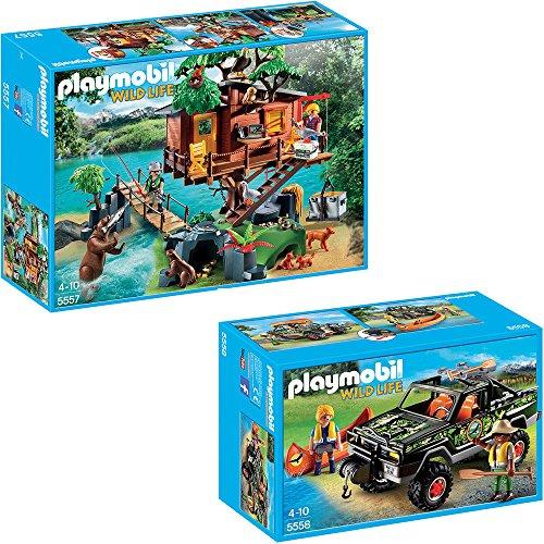 Preisvergleich Produktbild PLAYMOBIL® Wild Life 2er Set 5557 5558 Abenteuer-Baumhaus + Abenteuer-Pickup