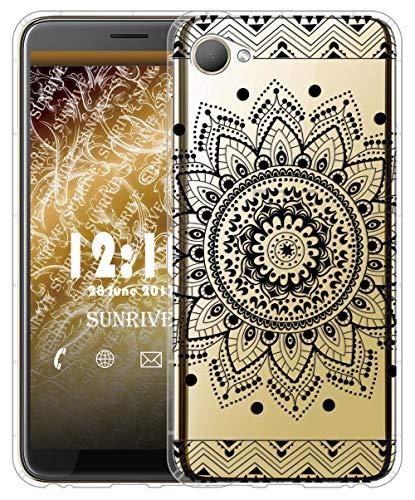 Sunrive Für HTC Desire 12 Hülle Silikon, Transparent Handyhülle Luftkissen Schutzhülle Etui Case für HTC Desire 12(TPU Blume Schwarze)+Gratis Universal Eingabestift