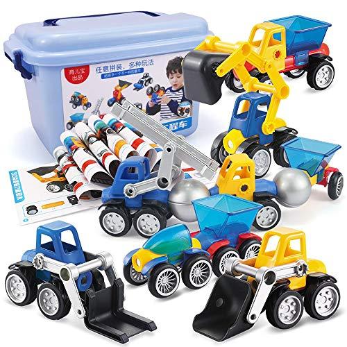 LEEDOO Magnetstück Spielzeugauto Toy Boy Kinder pädagogisches Spielzeug Magnetischer Magnet Zusammengebauter Magnetstab 26-teiliges Set von erstaunlichen Magnetautos [boxed] Spaß mit dem kreativen Geb - Boxed Garten