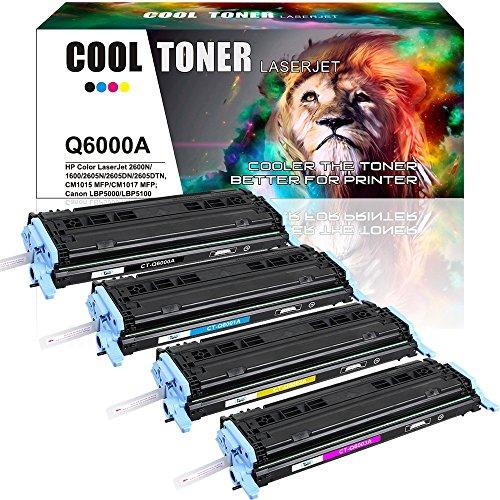 Cool Toner Kompatibel Toner für HP 124A HP124A Q6000A Q6001A Q6002A Q6003A(HP 124A) Druckerpatronen HP Color Laserjet 2600 2605 1600 Patrone CM1016 CM1017(K-2500 C/M/Y-2000 Seiten) Schwarz (Laserjet 2500)