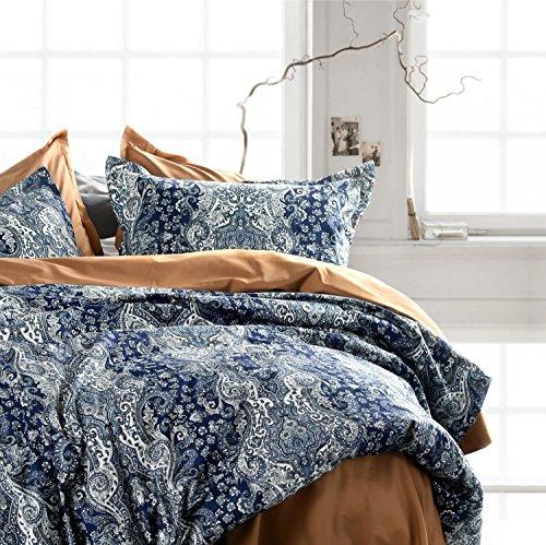 Eikei Home Damast Medaillon Luxus Steppdecke Cover Boho Paisley Print Bettwäsche Set Ägyptische Baumwolle Fadenzahl 400Baumwollsatin Vibrant Bohemian Muster Marokkanisch Queen Midnight (Royal Blue Orchids)
