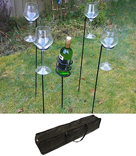 Woodside - Weinflaschenhalter & Weinglashalter mit Tasche für den Garten - Zum Grillen/für...