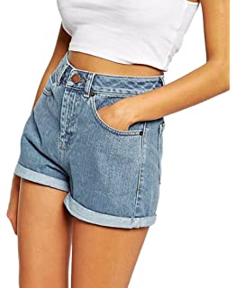 28472073ad33e7 Minetom Sommer Damen Denim Shorts High Waist Hot Pants Lochjeans Vintage  Baggy Basic Kurz Jeans Hose