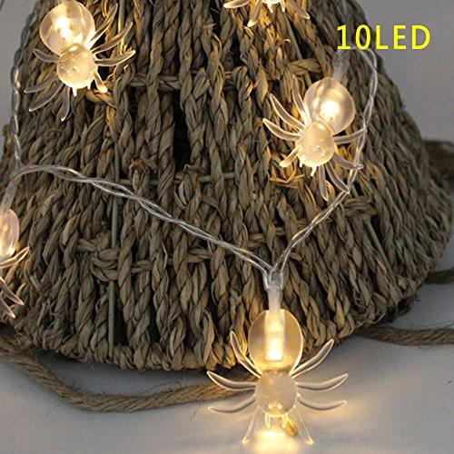 Ebilun 10 LED Spinnen-feenhafte Schnur helle Lampe für Halloween Party Dekor Warmes (Dekor Spinnen Halloween)