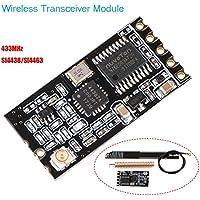 MakerHawk Módulo transceptor inalámbrico, puerto serie del módulo inalámbrico 433Mhz SI4438 / SI4463, MCU incorporado, transmisión inalámbrica de larga distancia 1200M Interfaz UART con antena de resorte y antena PCB de interfaz IPEX