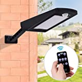 Solar Lights Outdoor, Remote Control Motion Sensor LED Street Lights with 66pcs led 1000LM,PXH LED Security Lights Dimmable,