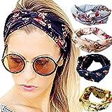 Runant 4 Stück Damen Stirnband Kopfband Stirnbänder Haarspange, Headband elastische Blume gedruckt Sportliche