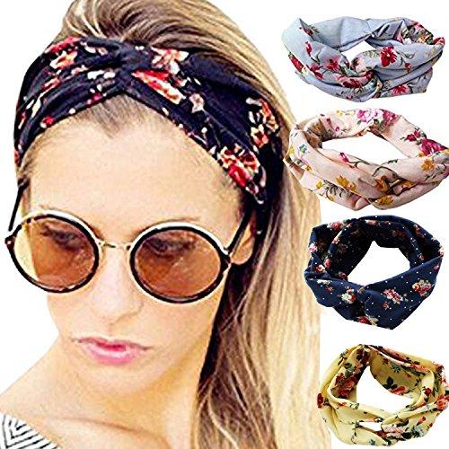 Runant 4 Stück Damen Stirnband Kopfband Stirnbänder Haarspange, Headband elastische Blume gedruckt Sportliche - Sportliche Wrap