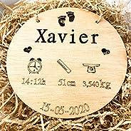 birth plate birthday Natalicio, Placa nacimiento bebé personalizada redondo madera de haya 20cm de diametro he