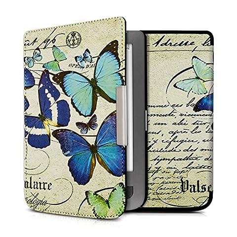 kwmobile Housse élégante en cuir synthétique pour Pocketbook Touch Lux 3 / Touch Lux 2 / Basic Lux / Basic 3 / Basic Touch 2 en Design papillons vintage bleu menthe beige
