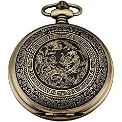 AMPM24 Bronze Mens Dragon & Phoenix Dangle Pendant Pocket Quartz Watch + Chain and AMPM24 Gift Box WPK062
