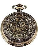 AMPM24 Bronze Mens Dragon & Phoenix Dangle Pendant Pocket Quartz Watch + Chain and AMPM24 Gift Box WPK062