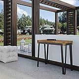 itamoby Spielekonsole Ausziehbarer Gartentisch aus Holz und Eisen H77x 40x 90/300cm Dalia Kiefer gefärbt Designer