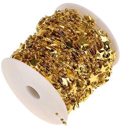 Fenteer 30m Stern Perle Girlanden DIY Hochzeit Armband Weihnachtsbaum Zubehör - Gold, 30m (Perlen-girlande Für Den Weihnachtsbaum)