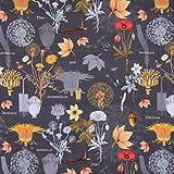 SCHÖNER LEBEN. Dekostoff Baumwollstoff Blumen Löwenzahn Mohn dunkelgrau rot orange gelb 1,4m Breite