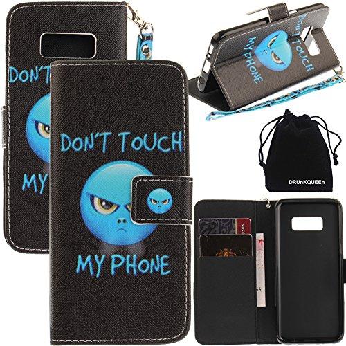 DRUnKQUEEn S8Fall, Galaxy S8Fall, Geldbörse Typ Leder Kreditkarten Schutzhülle mit Handy Halterung Flip Cover für Samsung Galaxy S 8-Hand Inklusive Handschlaufe S-handy-fall