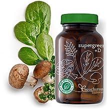 Supergreen +D - Super alimentos orgánicos, 2000 IUs de Vitamina D orgánica, 5 mil millones de probióticos, enzimas digestivas - salud intestinal, inmunidad, digestión