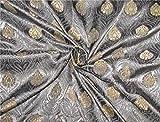 TheFabricFactory Brokat Stoff Grau x Gold 111,8cm Breit