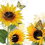 20 Serviette Sonnenblume Vintage Garten-Blume Herbst Sommer Schmetterling 33 x 33cm