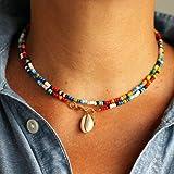 Genglass Boho-Korn-Layered Ketten Shell Anhänger Short Strand Halskette Schmuck für Frauen und Mädchen