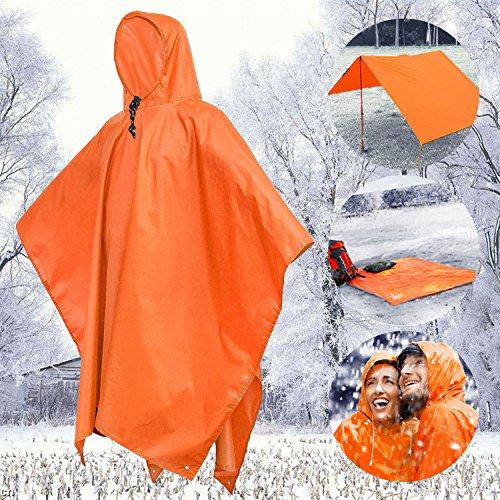 Tronisky Wasserdichter Regenponcho, Wiederverwendbar Regenmantel Unisex Freizeit Regenbekleidung Umweltfreundliche Regenjacke Ponchos für Camping, Wandern, und andere Outdoor Aktivitäten, Orange