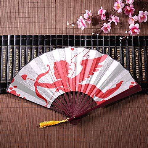 WYYWCY Faltfächer Bambus Netter Amor Mit Pfeil Und Bogen Mit Bambusrahmen Quaste Anhänger Und Stoffbeutel Japanischer Handfächer Japanische Fans Für Frauen Japanischer Handfächer