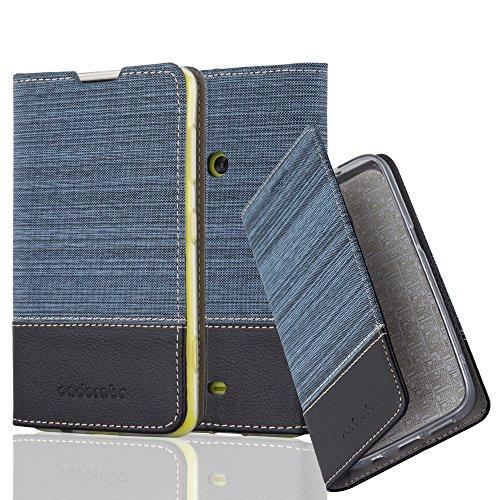 Cadorabo Hülle für Nokia Lumia 625 - Hülle in DUNKEL BLAU SCHWARZ – Handyhülle mit Standfunktion und Kartenfach im Stoff Design - Case Cover Schutzhülle Etui Tasche Book