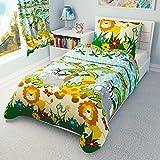 Parure de lit pour enfant/garçon, housse de couette et taie d'oreiller pour lit enfant/bébé–Jungle Bleu, Coton, bleu, 100x135 cm
